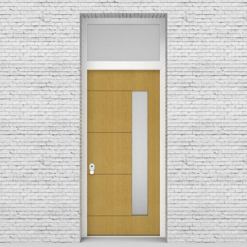1.single Door With Transom 4 Horizontal Lines With Hinge Side Glass Birch