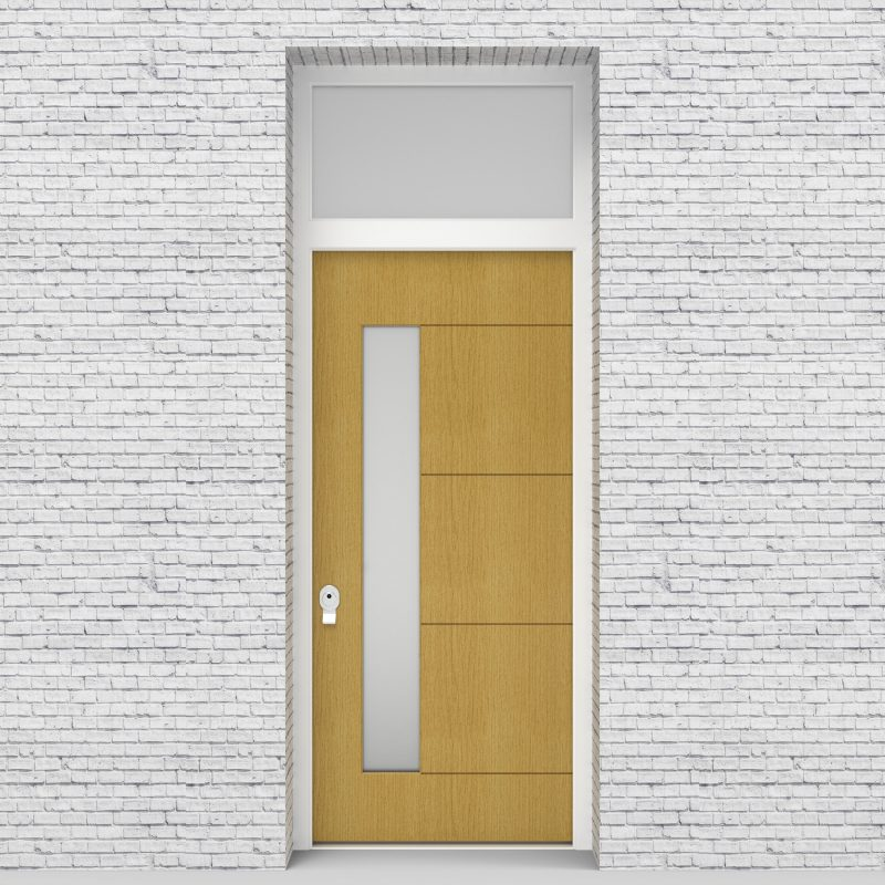 1.single Door With Transom 4 Horizontal Lines With Lock Side Glass Birch