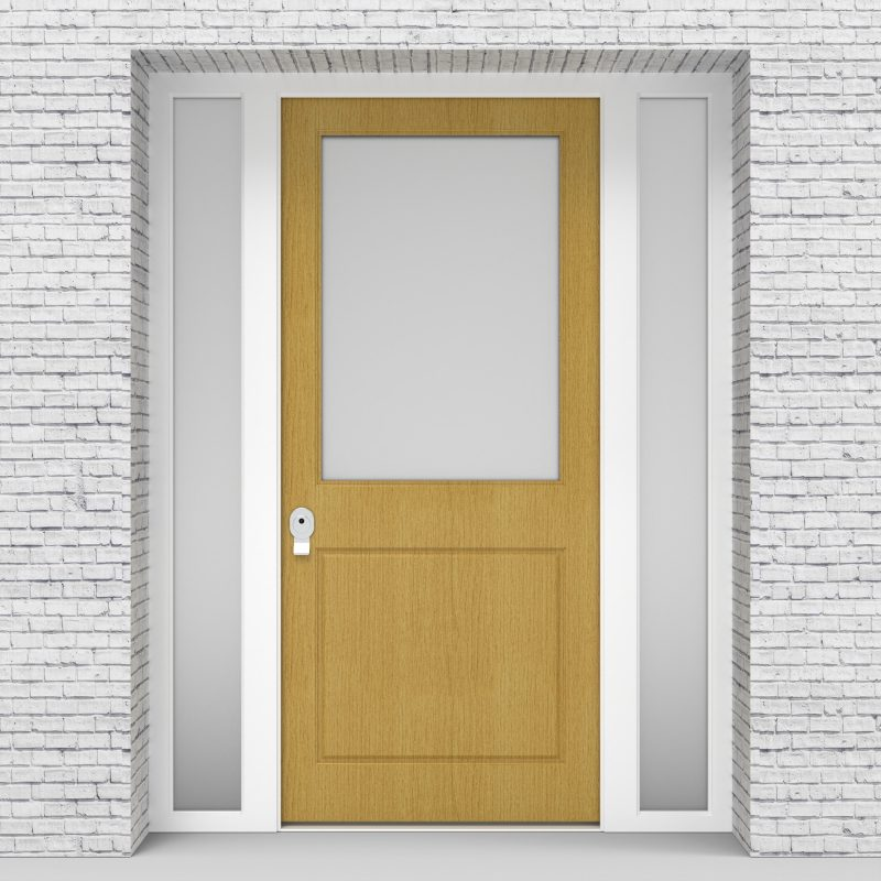 1.single Door With Two Side Panels 2 Panel With A Large Glass Panel Birch