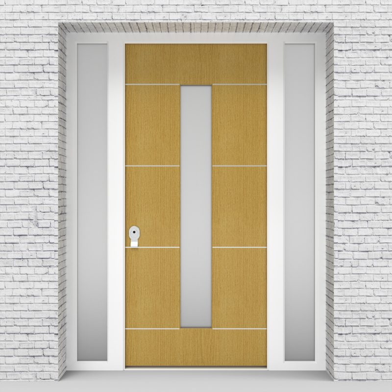 1.single Door With Two Side Panels 4 Aluminium Inlays With Central Glass Birch