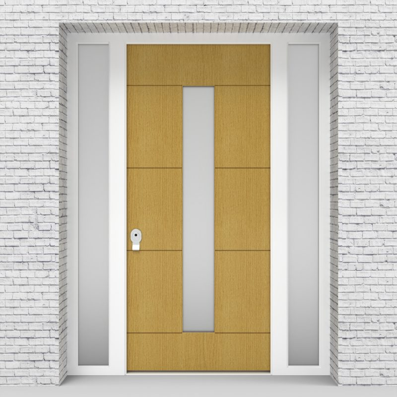 1.single Door With Two Side Panels 4 Horizontal Lines With Central Glass Birch
