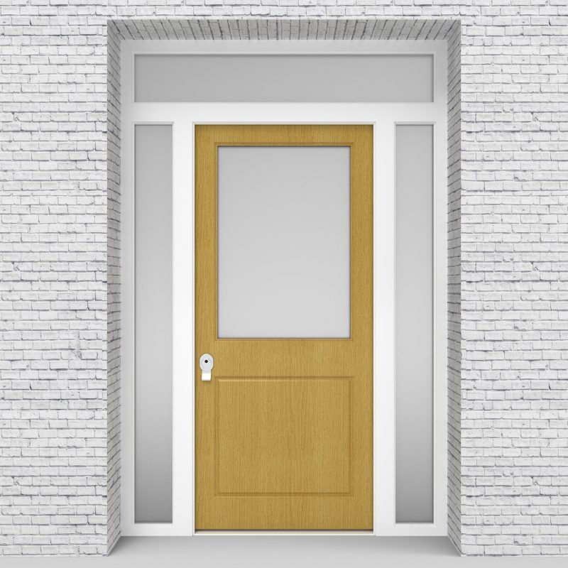 1.single Door With Two Side Panels And Transom 2 Panel With A Large Birch