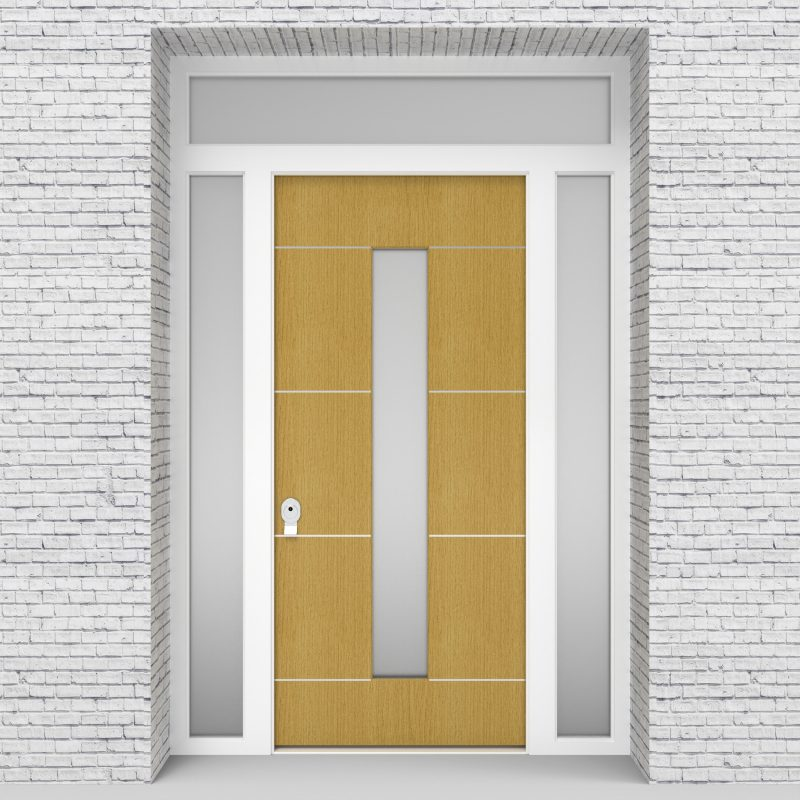 1.single Door With Two Side Panels And Transom 4 Aluminium Inlays With Central Glass Birch