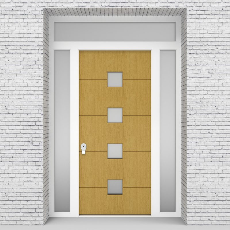 1.single Door With Two Side Panels And Transom 4 Horizontal Lines Birch