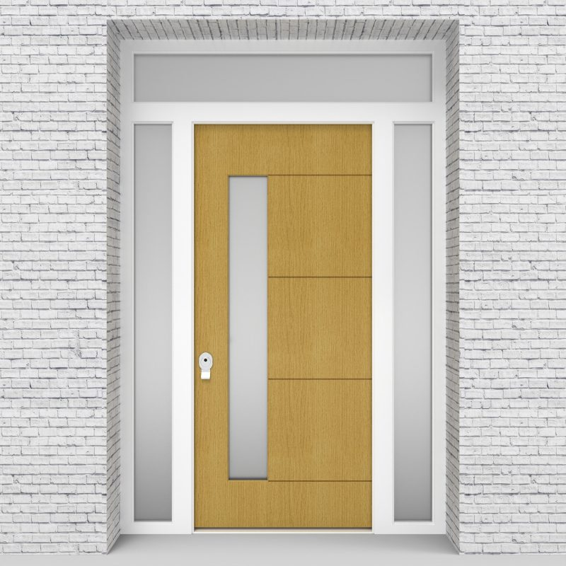 1.single Door With Two Side Panels And Transom 4 Horizontal Lines With Lock Side Glass Birch