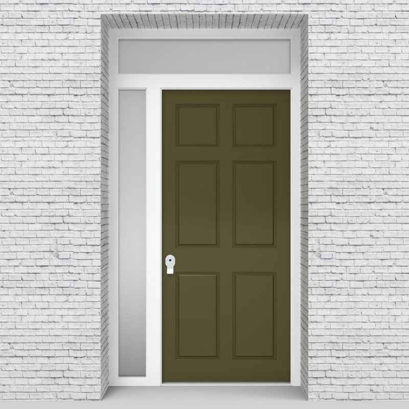 12.single Door With Left Side Panel And Transom Victorian 6 Panel Reed Green (ral6013)