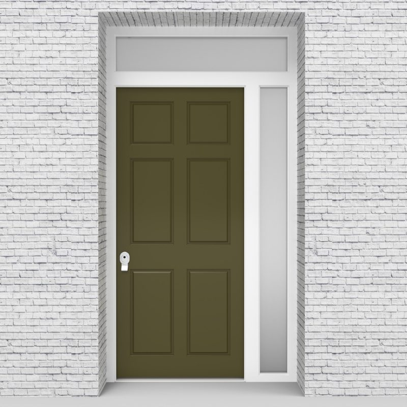 12.single Door With Right Side Panel And Transom Victorian 6 Panel Reed Green (ral6013)