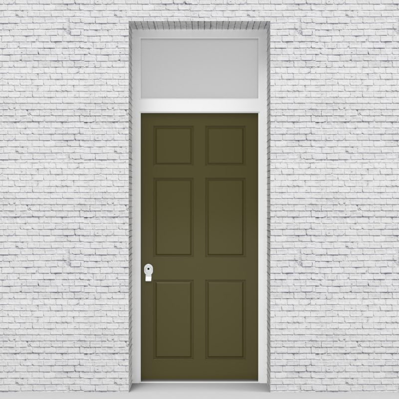 12.single Door With Transom Victorian 6 Panel Reed Green (ral6013)