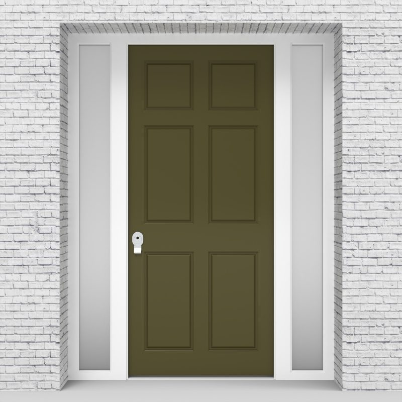 12.single Door With Two Side Panels Victorian 6 Panel Reed Green (ral6013)