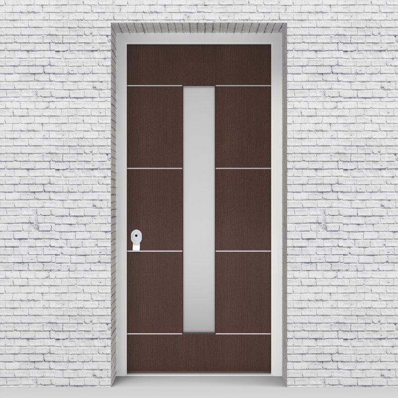 2.single Door 4 Aluminium Inlays With Central Glass Dark Oak