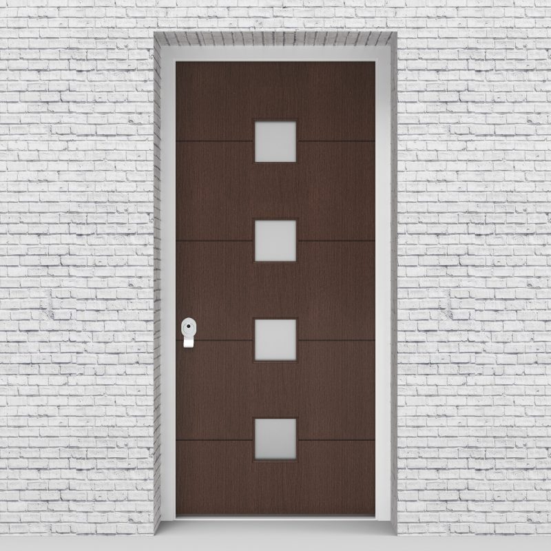 2.single Door 4 Horizontal Lines With 4 Glass Squares Dark Oak
