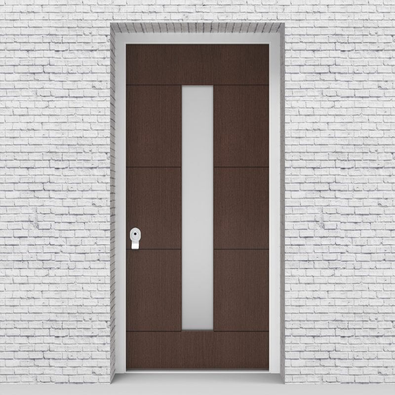 2.single Door 4 Horizontal Lines With Central Glass Dark Oak