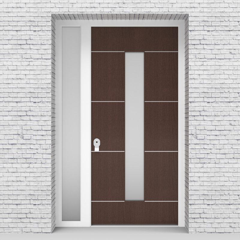 2.single Door With Left Side Panel 4 Aluminium Inlays With Central Glass Dark Oak