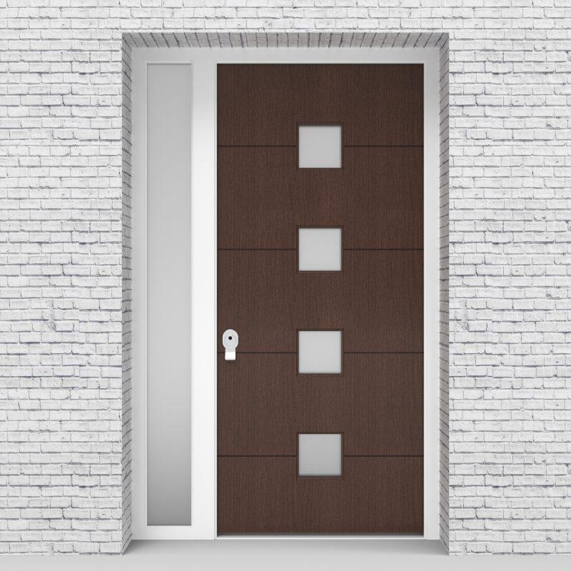 2.single Door With Left Side Panel 4 Horizontal Lines With 4 Glass Dark Oak