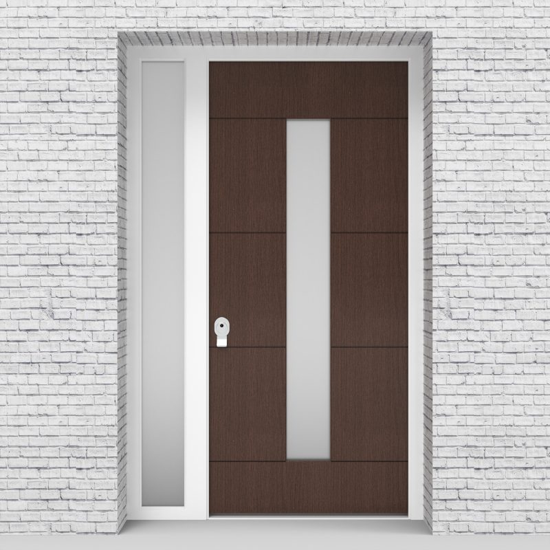 2.single Door With Left Side Panel 4 Horizontal Lines With Central Glass Dark Oak