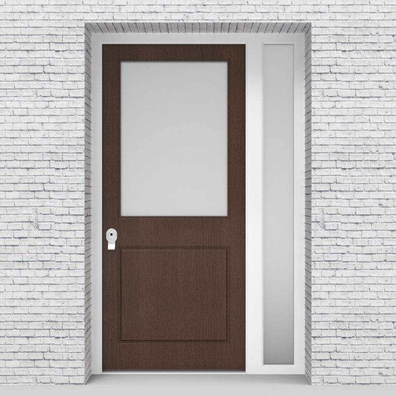 2.single Door With Right Side Panel 2 Panel With A Large Glass Pane Dark Oak