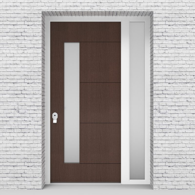 2.single Door With Right Side Panel 4 Horizontal Lines With Lock Side Glass Dark Oak