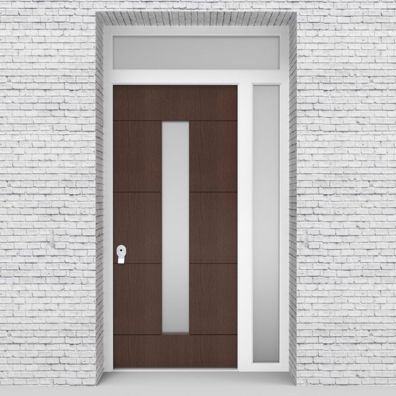 2.single Door With Right Side Panel And Transom 4 Horizontal Lines With Central Glass Dark Oak