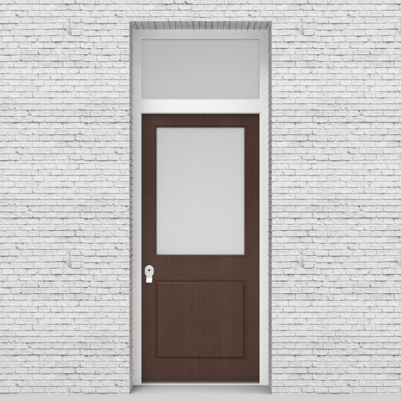 2.single Door With Transom 2 Panel With A Large Glass Pane Dark Oak