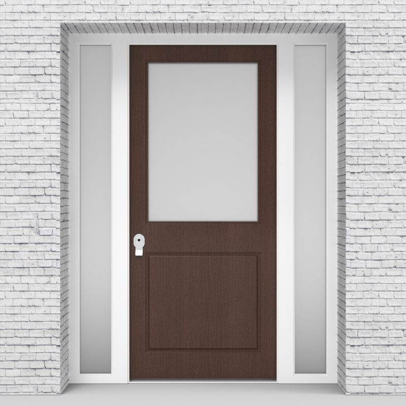 2.single Door With Two Side Panels 2 Panel With A Large Glass Panel Dark Oak