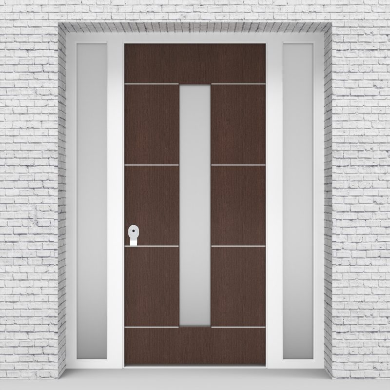2.single Door With Two Side Panels 4 Aluminium Inlays With Central Glass Dark Oak