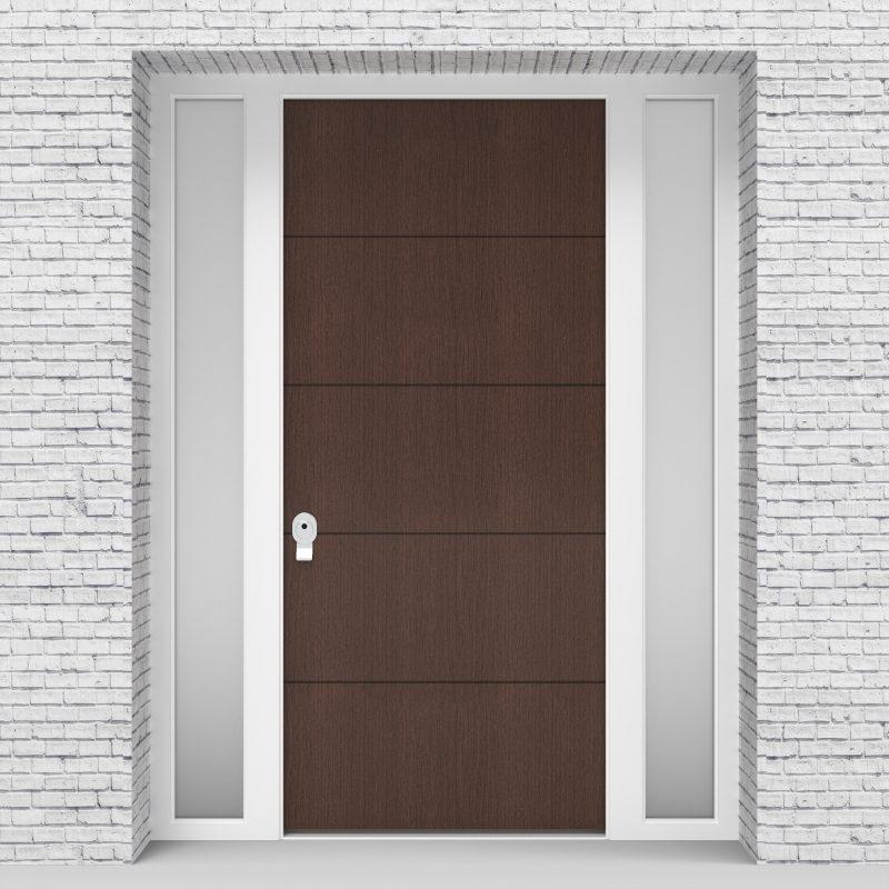 2.single Door With Two Side Panels 4 Horizontal Lines Dark Oak