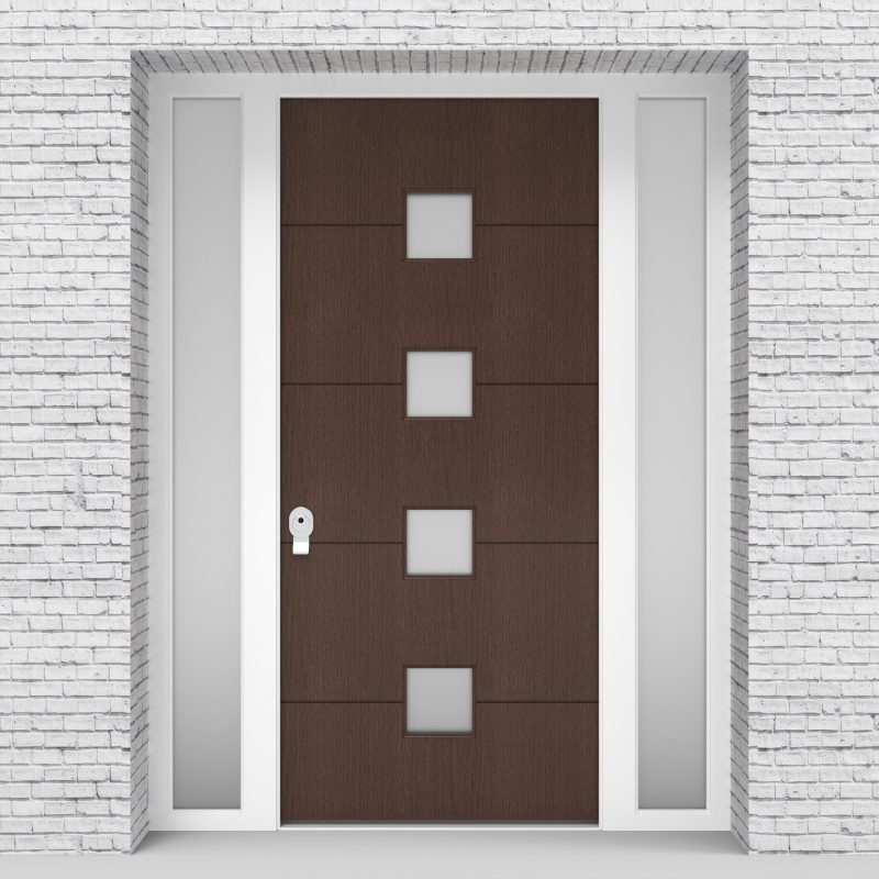 2.single Door With Two Side Panels 4 Horizontal Lines With 4 Glass Dark Oak