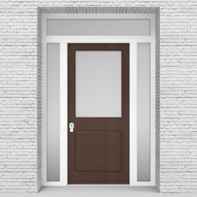 2.single Door With Two Side Panels And Transom 2 Panel With A Large Dark Oak