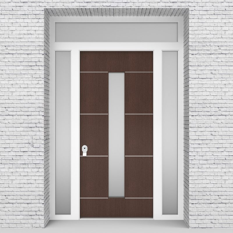 2.single Door With Two Side Panels And Transom 4 Aluminium Inlays With Central Glass Dark Oak