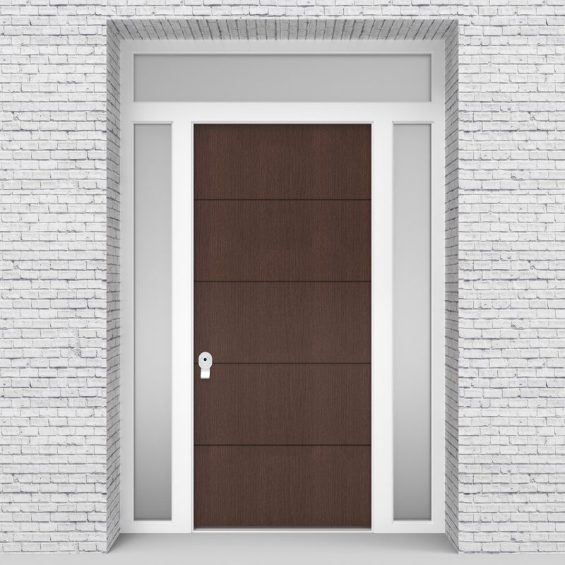 2.single Door With Two Side Panels And Transom 4 Horizontal Lines Dark Oak