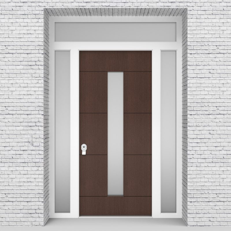 2.single Door With Two Side Panels And Transom 4 Horizontal Lines With Central Glass Dark Oak
