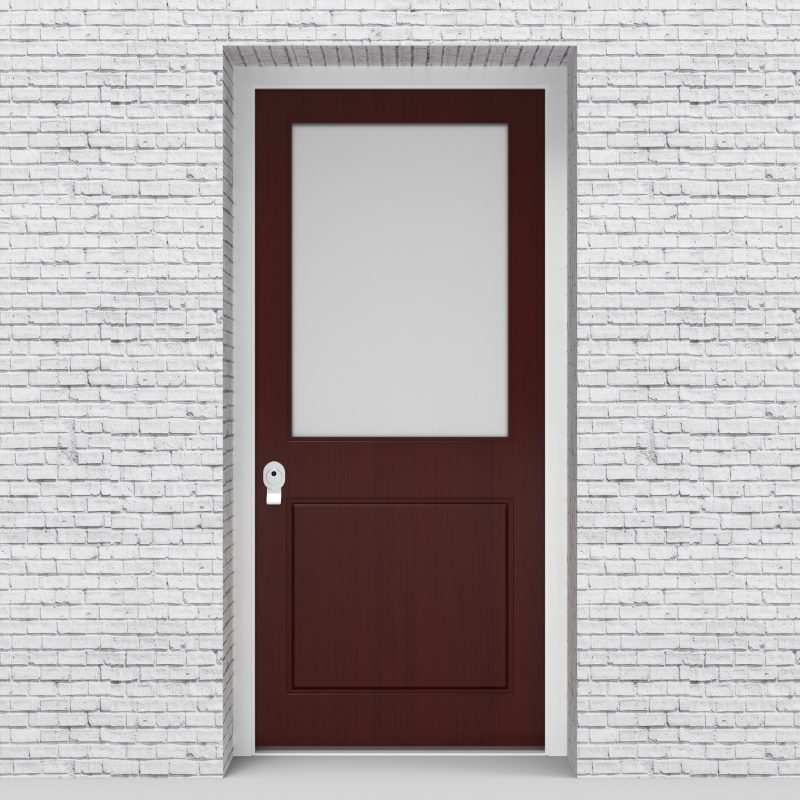 3.single Door 2 Panel With A Large Glass Pane Mahogany