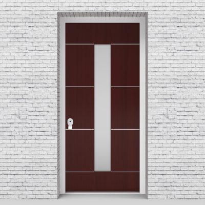 3.single Door 4 Aluminium Inlays With Central Glass Mahogany