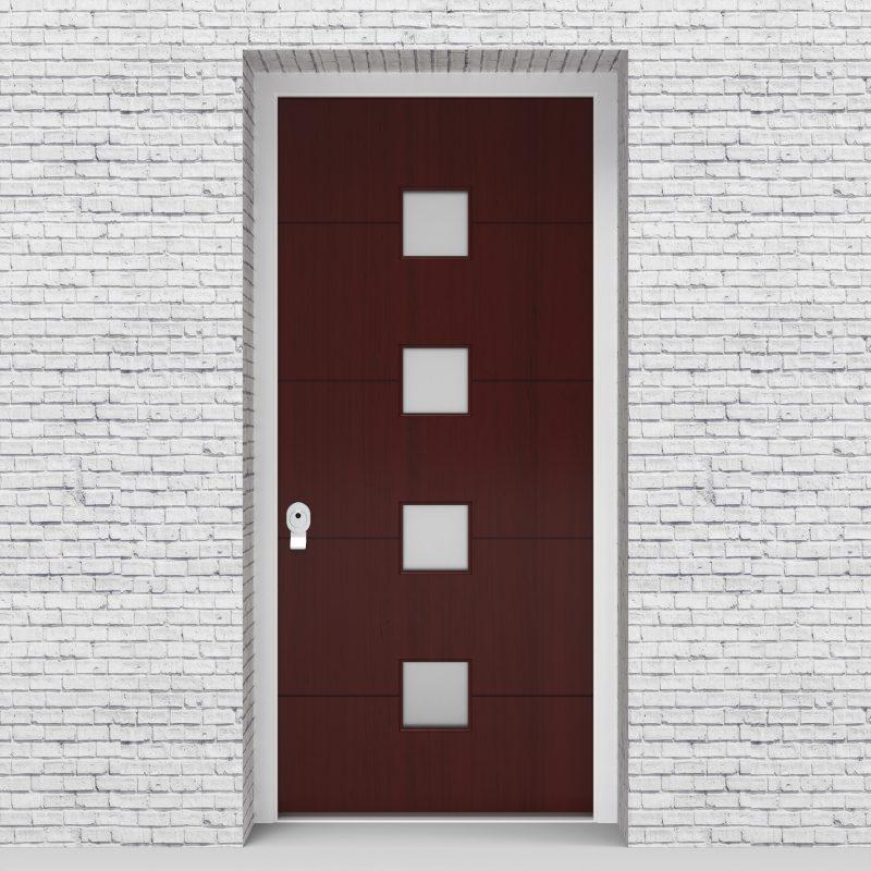 3.single Door 4 Horizontal Lines With 4 Glass Squares Mahogany