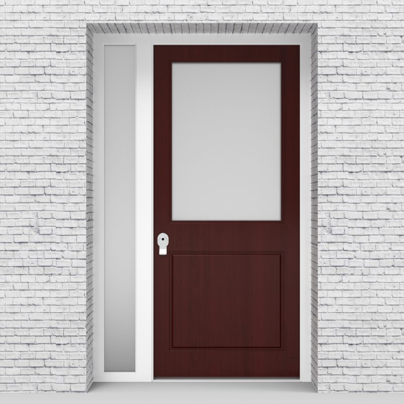 3.single Door With Left Side Panel 2 Panel With A Large Glass Pane Mahogany