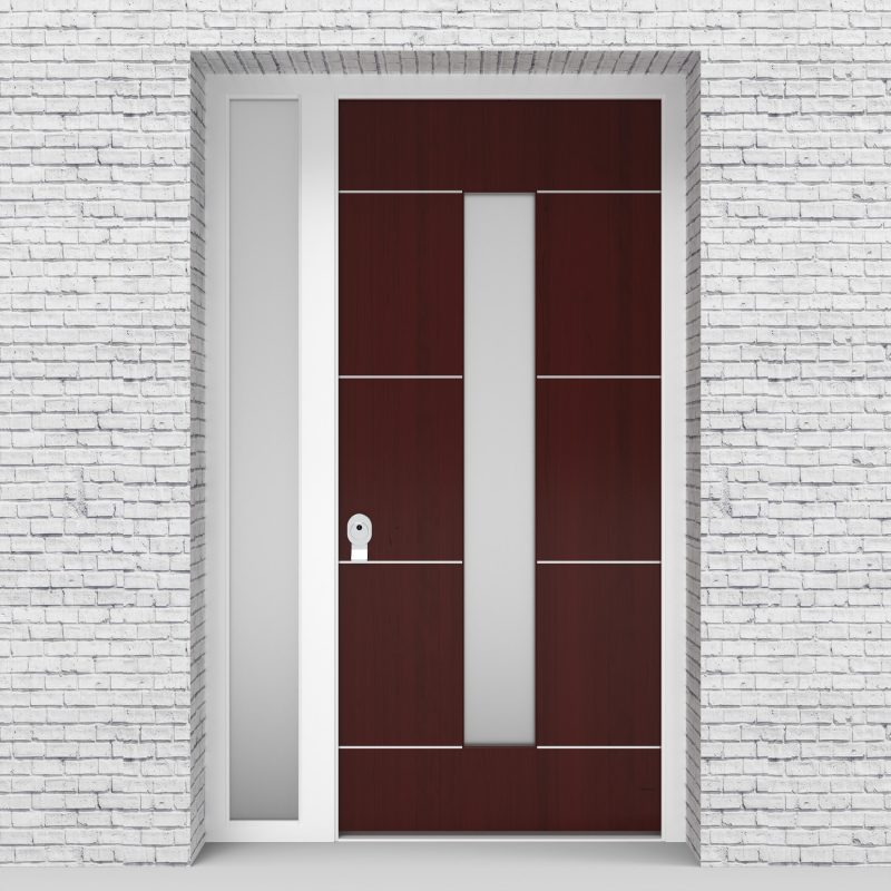 3.single Door With Left Side Panel 4 Aluminium Inlays With Central Glass Mahogany