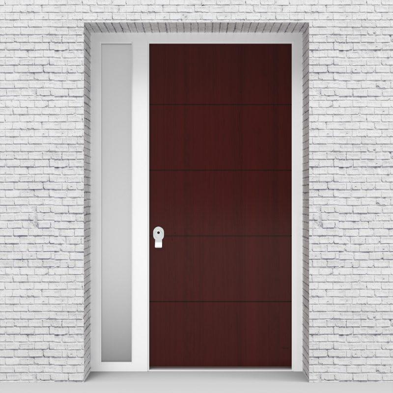 3.single Door With Left Side Panel 4 Horizontal Lines Mahogany