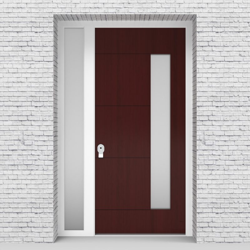 3.single Door With Left Side Panel 4 Horizontal Lines With Hinge Side Glass Mahogany