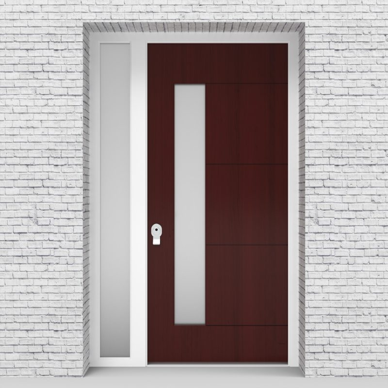 3.single Door With Left Side Panel 4 Horizontal Lines With Lock Side Glass Mahogany