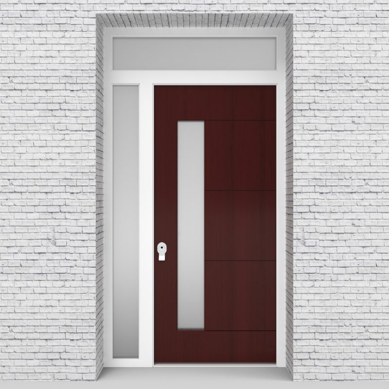 3.single Door With Left Side Panel And Transom 4 Horizontal Lines With Lock Side Glass Mahogany