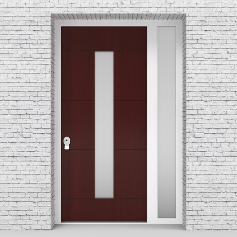3.single Door With Right Side Panel 4 Horizontal Lines With Central Glass Mahogany