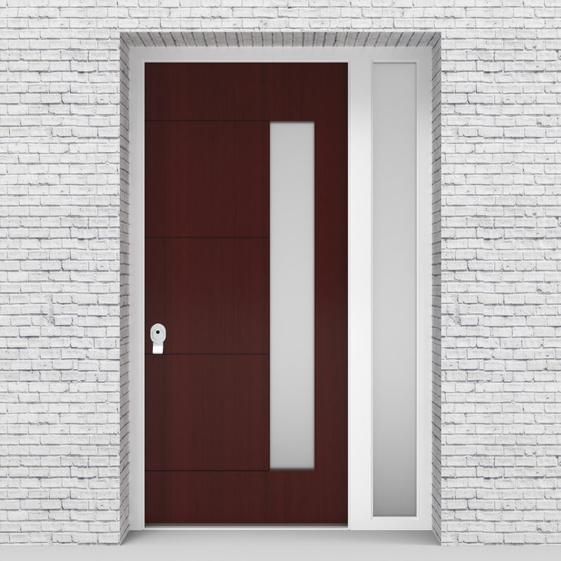 3.single Door With Right Side Panel 4 Horizontal Lines With Hinge Side Glass Mahogany