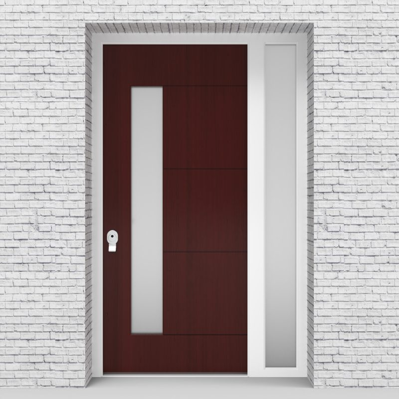 3.single Door With Right Side Panel 4 Horizontal Lines With Lock Side Glass Mahogany