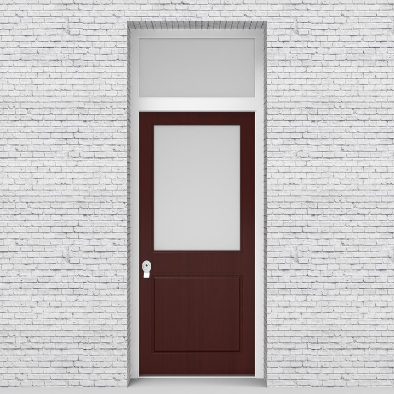 3.single Door With Transom 2 Panel With A Large Glass Pane Mahogany