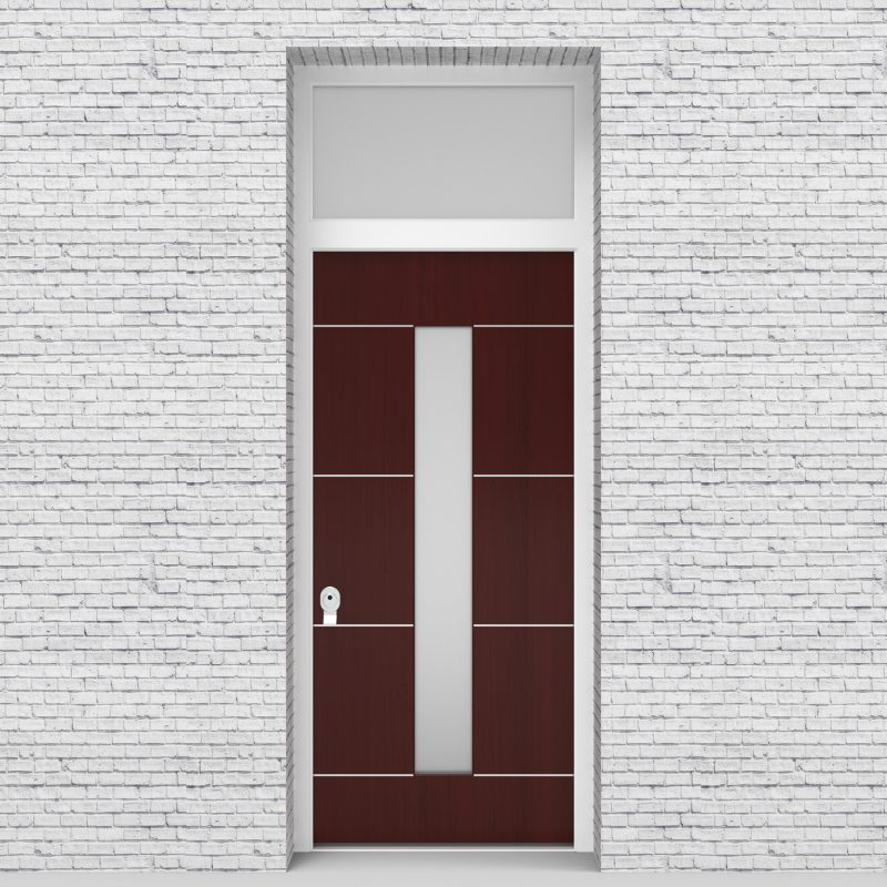 3.single Door With Transom 4 Aluminium Inlays With Central Glass Mahogany