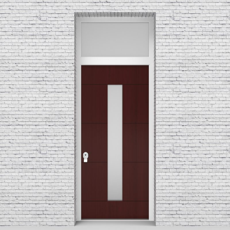 3.single Door With Transom 4 Horizontal Lines With Central Glass Mahogany