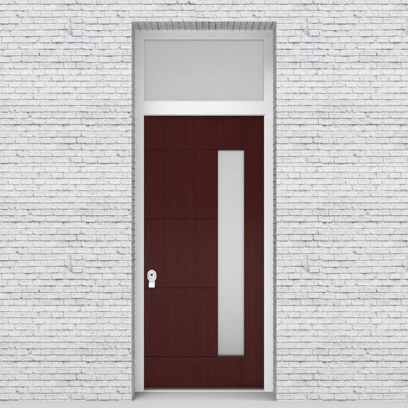 3.single Door With Transom 4 Horizontal Lines With Hinge Side Glass Mahogany