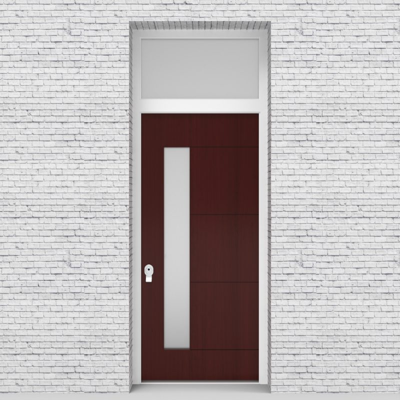 3.single Door With Transom 4 Horizontal Lines With Lock Side Glass Mahogany