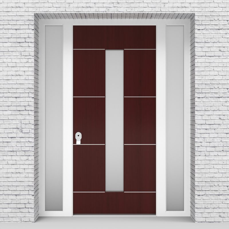 3.single Door With Two Side Panels 4 Aluminium Inlays With Central Glass Mahogany