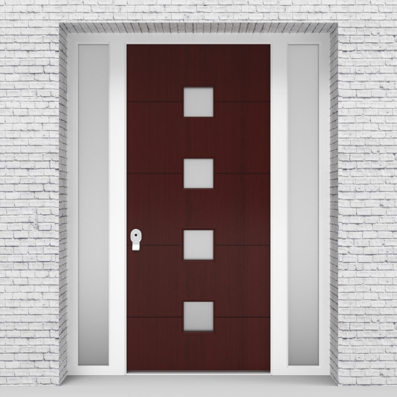 3.single Door With Two Side Panels 4 Horizontal Lines With 4 Glass Mahogany